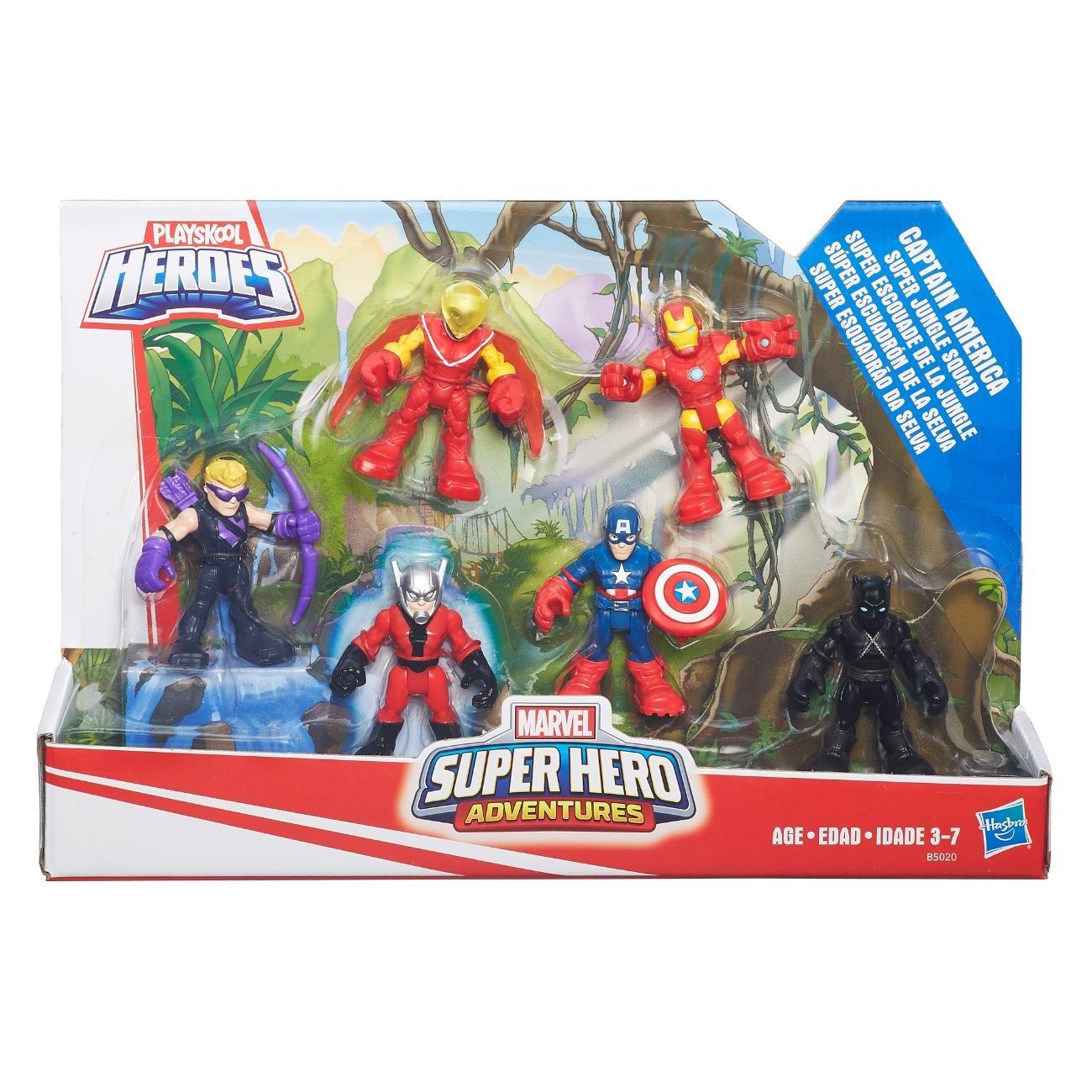 Mini Figuras Playskool Heroes Marvel Super Hero Adventure Capitão América Esquadrão da Selva Hasbro