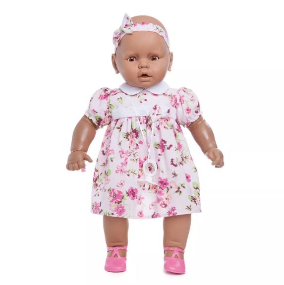 Boneca Meu Bebê Negra 60 cm Estrela Vestido Rosa Estrela