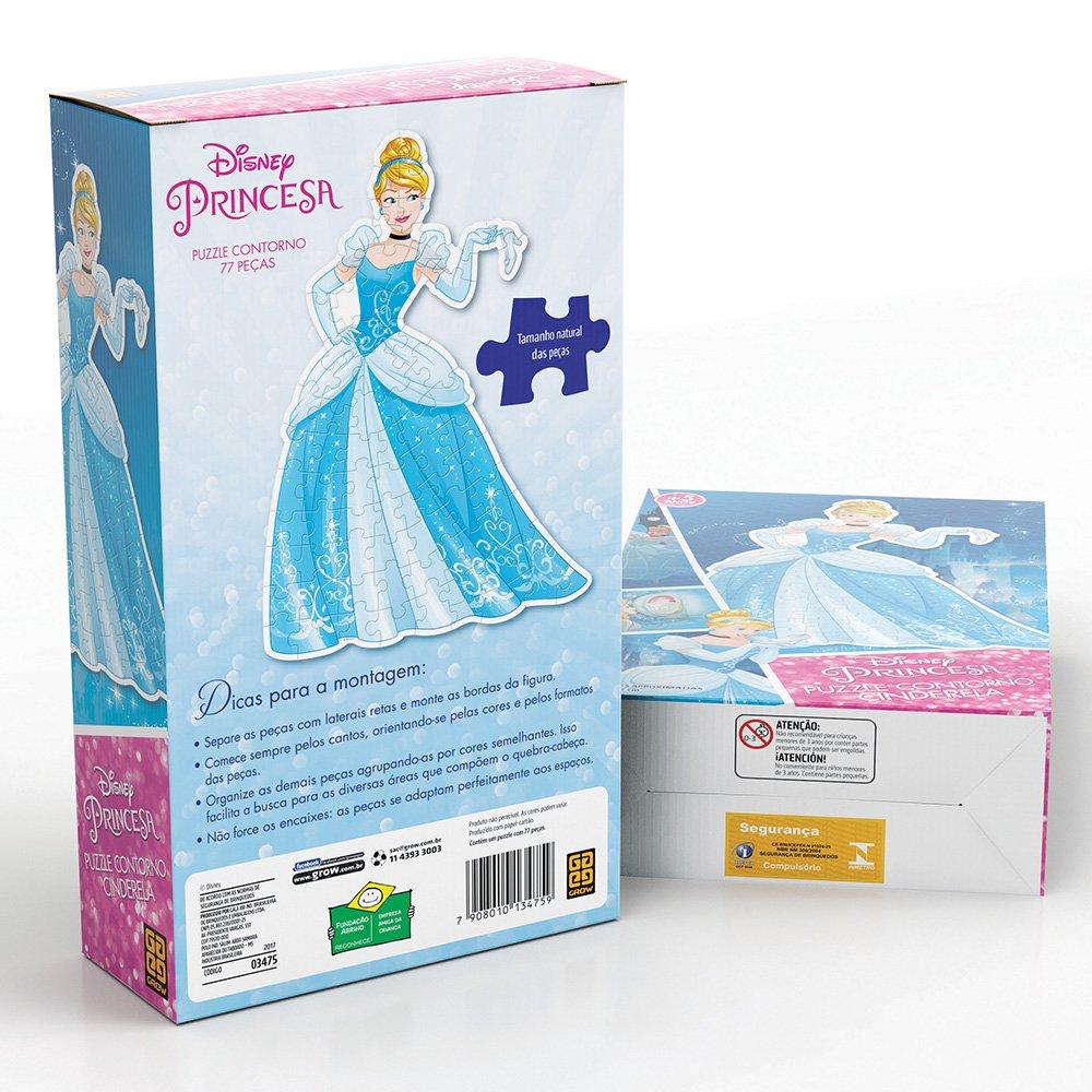 Quebra-Cabeça Contorno Cinderela Princesas Disney Grow