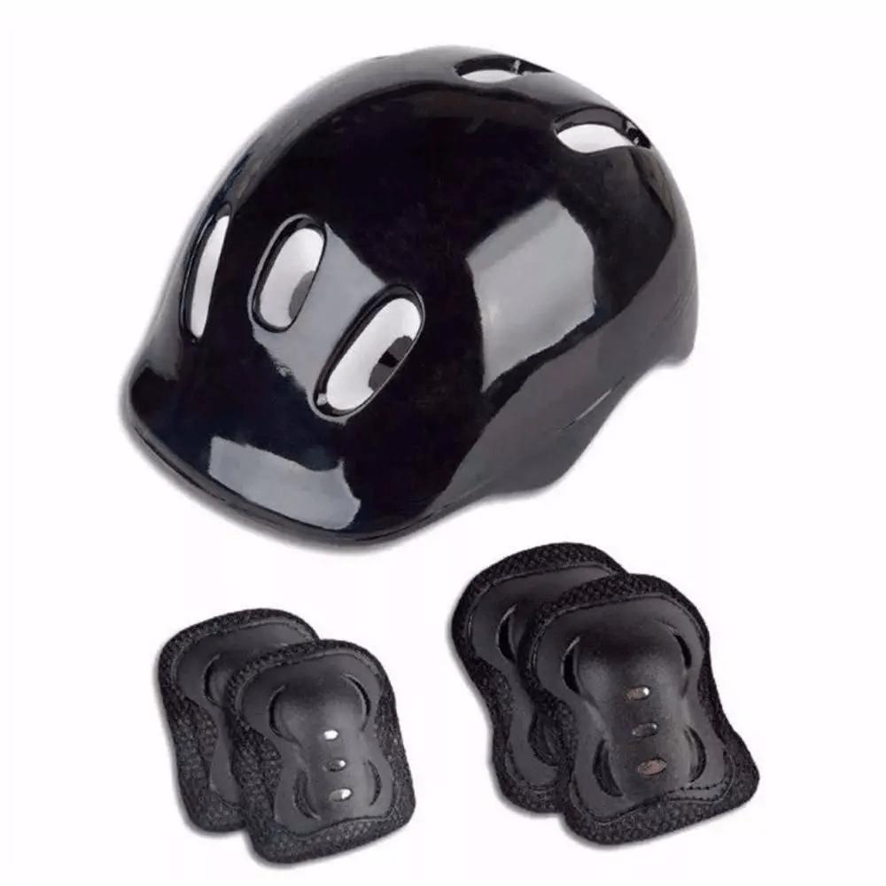 Conjunto de Proteção com Capacete, Joelheiras e Cotoveleiras Preto Fênix