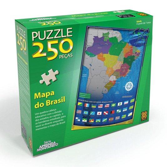 Quebra-Cabeça Mapa do Brasil 250 Peças Grow