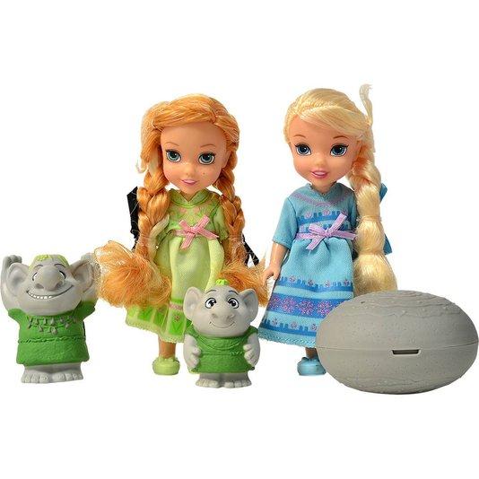 Bonecas Disney Frozen Ana e Elsa com Trolls Sunny