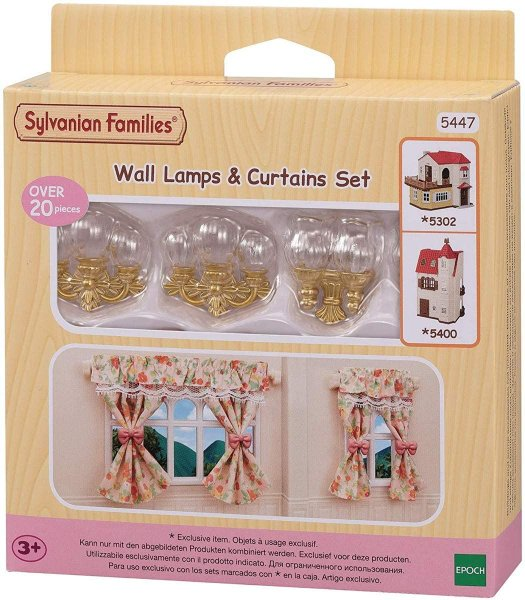 Conjunto Luminárias e Cortinas Sylvanian Families Epoch