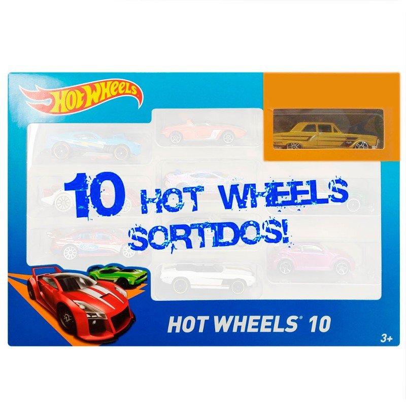 Pacote com 10 Carros Hot Wheels Mattel