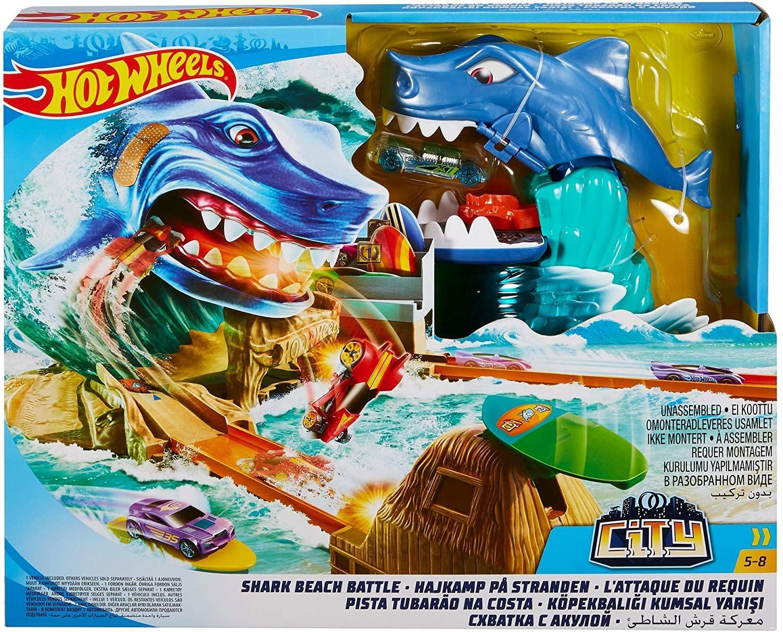 Conjunto Pista Batalha na Praia do Tubarão Hot Wheels Mattel